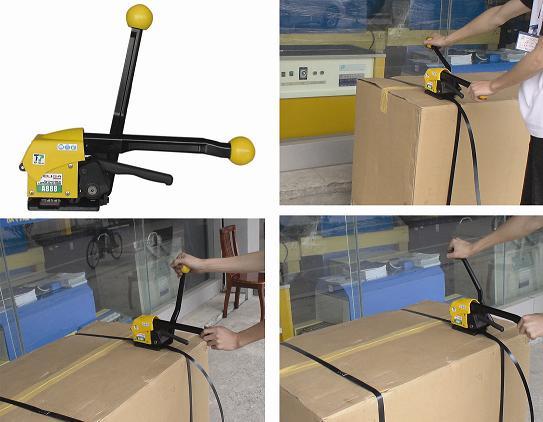 惠州气动钢带打捆机直销惠州手动打包机销售惠州免扣式钢带捆扎机