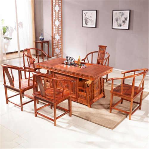 张家界非洲花梨木仿古茶桌 自己生产