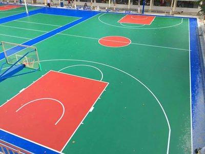 西藏塑胶篮球场水性硅pu球场篮球场施工