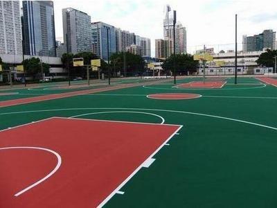 廊坊塑胶篮球场水性硅pu球场篮球场地面