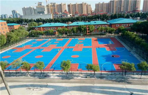 烟台硅pu材料学校专用篮球场地面