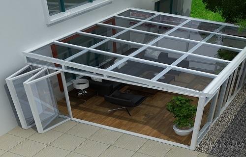 镇江铝合金框架玻璃幕墙露台搭建淋浴房移门