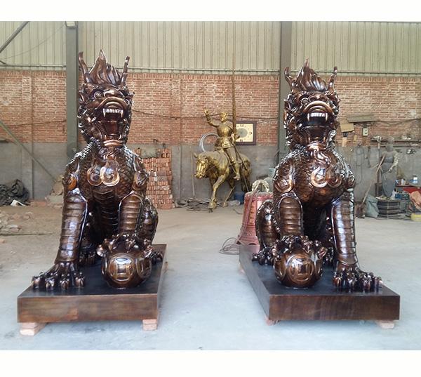 东营铜麒麟铜雕