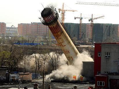 安康50米砖烟囱拆除公司